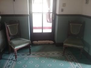 PAIR OF VICTORIAN OAK CHAIRS IN GREEN VELOUR