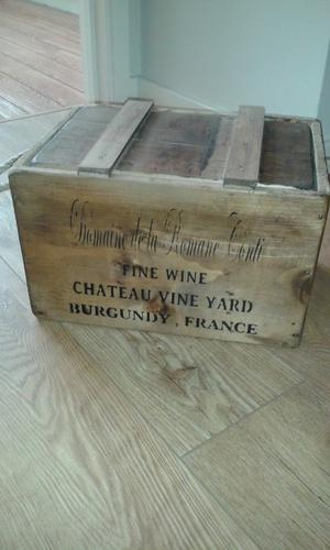 Great Vintage Style Wooden Lidded Chest Box.. French Style with wording of Fine Wines France