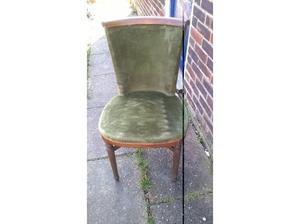 twin pedestal extendable table and six antique chairs in