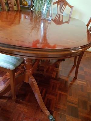 Dining Room Suite - Comprising Chestnut Table & Chairs, with matching Drinks & Display Cabinet