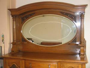 Early 20th Century Dresser with Oval Beveled Mirror