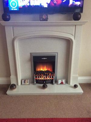 White Marble Fire Surround with Cozy Flame effect Electric Fire