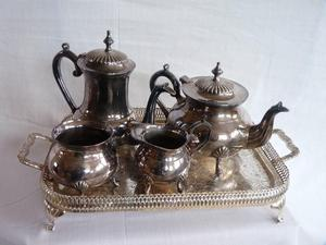 HEAVY SILVER PLATED TEA SET marked EPNS.