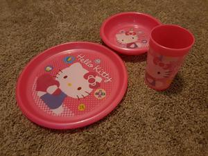 Hello Kitty plate, dish and beaker set