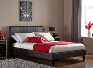 BRAND NEW DOUBLE / KINGSIZE FAUX LEATHER BED FRAME WITH CHOICE OF ORTHOPAEDIC MEMORY FOAM MATTRESSES