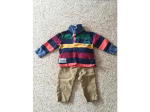 Jo Jo Maman Bebe Rugy Top and M&S Adjustable Waist Chinos in