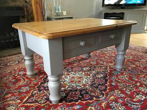 Coffee table solid pine painted