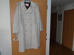 GENTS CLOTHING from L to 3XL including a RAINCOAT a BRAND NEW SUIT, 2 JACKETS, a LEATHER WAISTCOAT