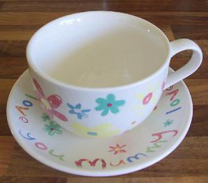 """""""Love You Mummy"""" Oversized Cup & Saucer Set"""