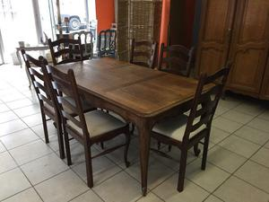 table and 6 chairs Oak Louis XV,French style
