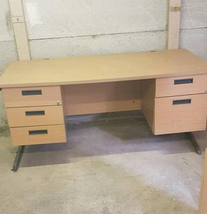 Office Desk/ Work Table in Beech with Drawers Can Deliver Locally for £10