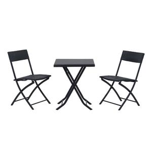 Rattan Effect Bistro Furniture Set comprising 1 folding table and 2 folding chairs – BRAND NEW