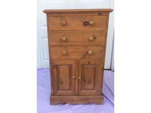 Solid pine 3 drawer chest with cupboard in Pontypridd