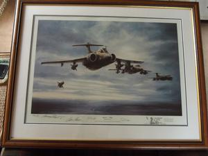 2 Gulf War remarqued limited edition Michael Rondot framed prints, Blue Fire and Paveway Tornadoes.