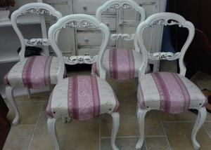 Shabby chic, pretty, upholstered antique chairs x 4, newly fnished