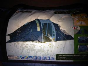 Camping 6 man tent used once stove new 3 chairs table
