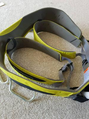 Black diamond climbing harness and red chilli shoes