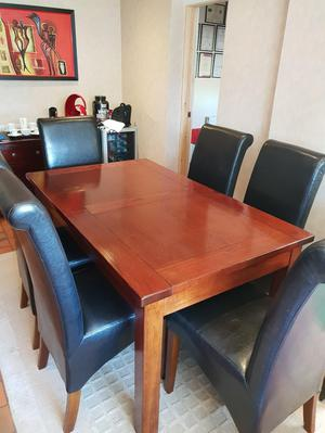 Solid Wood Mahogany Extendable Table and Chairs