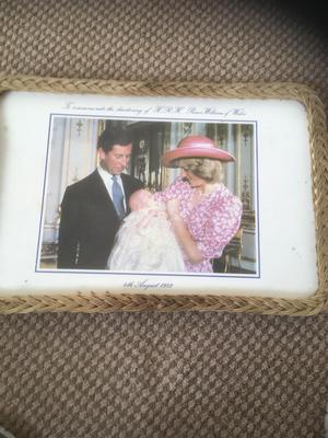 Old tea tray commemorate the christening of H.R.H prince William