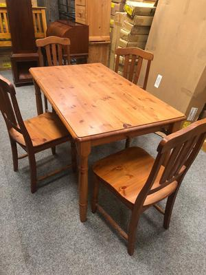 Large Rustic Solid Pine Dinning Table & Chairs