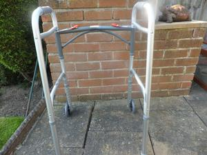 Folding Walking Frame With Wheels - Height Adjustable