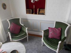 Two Antique French lounge chairs, (circa ) Green.