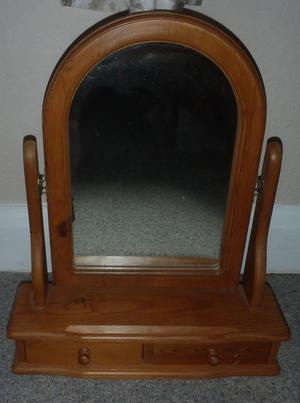 ANTIQUE PINE DRESSING TABLE MIRROR WITH DRAWERS