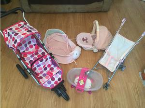 Dolls play set bundle (pushchair, Bath, car seat etc) in