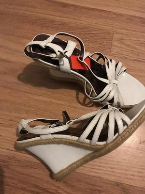 New White wedge sandals