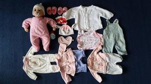 Baby Annabell with clothes bundle