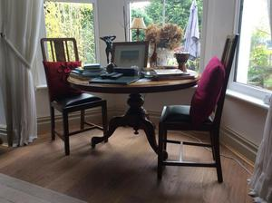 Solid mahogany round dining table and 4 chairs