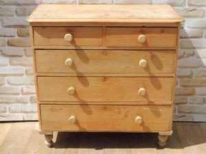 Victorian Wooden Large Chest of Drawers on Bun feet (Deliver