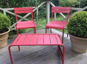 Fermob garden chairs and low table/ bench in poppy red