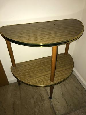 TWO TIER HALF MOON TABLE WOODEN EFFECT WITH GOLD EDGE HALLWAY LIVING ROOM STORAGE