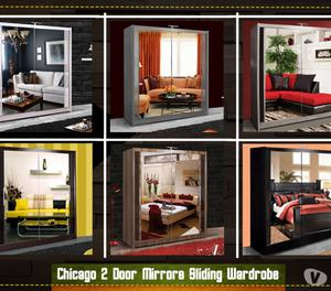 Brand New Top Quality Chicago Sliding Mirror Wardrobe