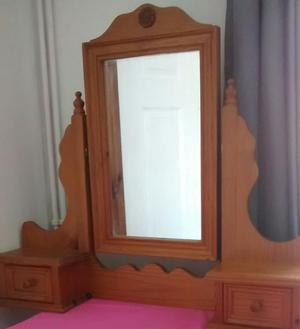 Lovely Pine dressing table mirror with 2 drawers