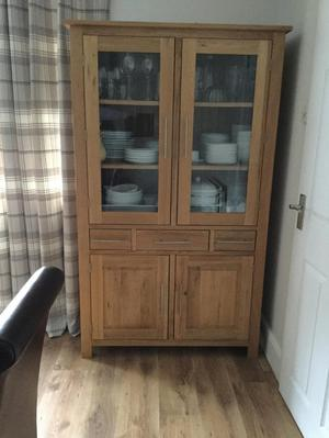 Natural Solid Oak Glazed Display Cabinet