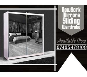 BRAND NEW NEWYORK MIRROR SLIDING WARDROBE W LED IN 4 COLORS