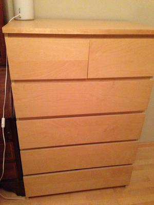 large 6 draw chest of drawers in birch x 2