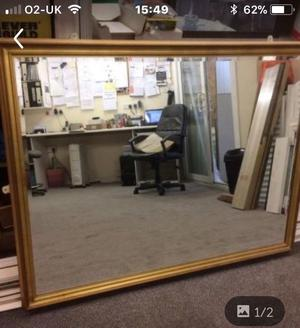 Mirror, large in a gold coloured frame, approx size  x