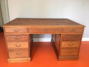 Antique mahogany desk, large with plan drawer, partly restored, needs more tlc,