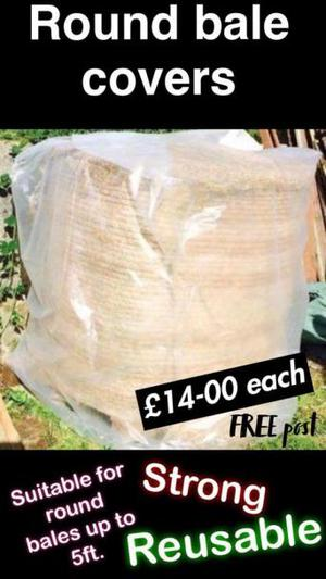 Round bale covers suitable for hay or straw
