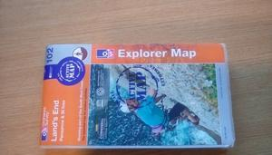 Map. Ordnance Survey Lands End Penzance & St Ives Active Map.Number 102.As new condition.Only £3
