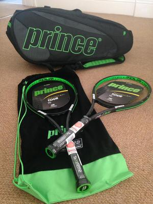 Prince tennis bag and tennis rackets kit