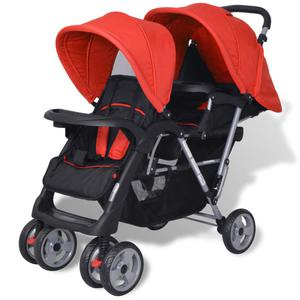 vidaXL Tandem Stroller Steel Red and Black