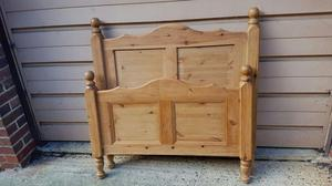Pine single bed frame and mattress