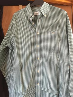 Men's xl Lacoste green and white checked shirt