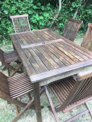 Solid teak wooden garden table and 6 chairs