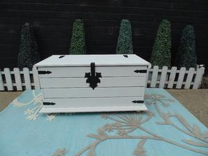 SOLID PINE BLANKET BOX PAINTED WITH LAURA ASHLEY PALE DOVE AND WAXED FOR PROTECTION VERY RUSTIC BOX