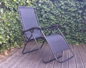 Two folding deck chairs, black